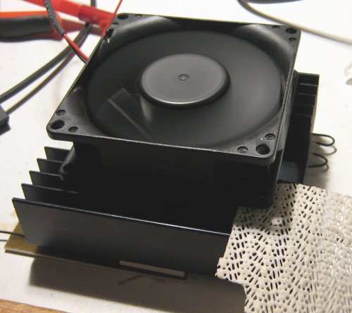 Heatsink with blowing fan.