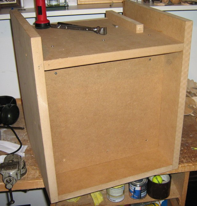 Cabinet under construction, back view