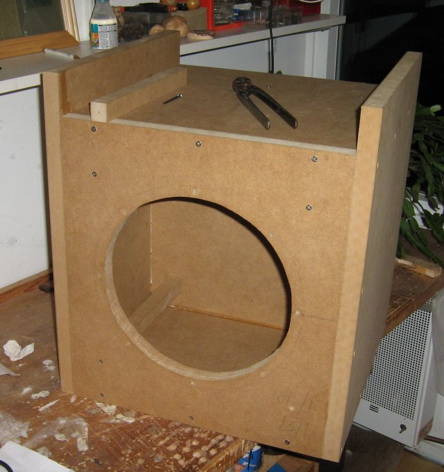 Cabinet under construction, front view